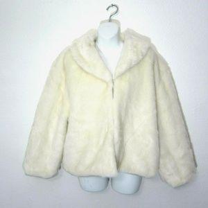 Cejon Faux Fur Vegan Thick Coat Size XL NEW Ivory